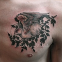 Vintage picture style colored chest tattoo of fantasy animal with wings and tree branch
