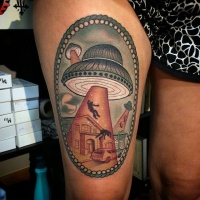 Vintage picture style colored thigh tattoo of alien ship stealing humans