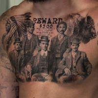 Vintage picture style detailed chest tattoo of big family with lettering and Indian