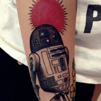 Vintage style big colored forearm tattoo of R2D2 with sun tattoo