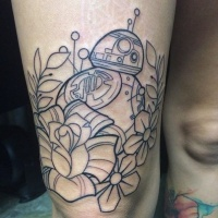 Vintage style big uncolored thigh tattoo of star droid with flowers pattern
