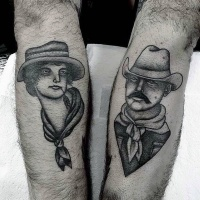 Vintage style black and white western people tattoo on arms