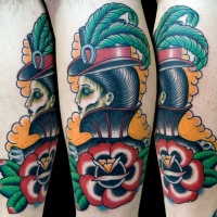 Vintage style colored leg tattoo of cool woman with hat and rose