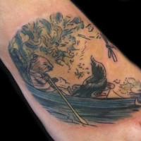 Vintage style colored picture of mouse in boat tattoo on foot