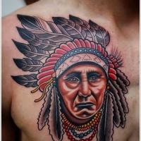 Vintage Stil buntes amerikanisches natives Brust Tattoo mit altem Indianerhäuptling