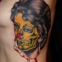 antico stile multicolore zombie donna tatuaggio su lato