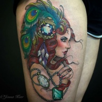 Vintage style painted by Jenna Kerr colored thigh tattoo of seductive woman portrait combined with jewelry and peacock feather