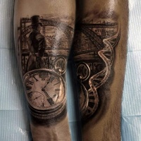 Vintage style painted very detailed pocket clock with man tattoo on arm