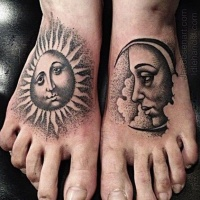 Vintage sun and moon dotwork tattoo by Erik Jacobsen