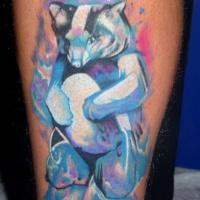 Vivid colors blue polar bear tattoo on leg
