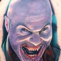 Vivid colors creepy man horror tattoo