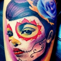 Vivid colors day of the dead tattoo