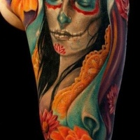 Vivid colors day of the dead tattoo on shoulder