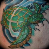colori vivaci tartaruga verde tetuaggio