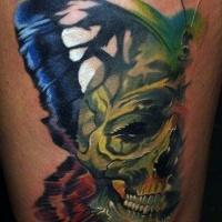 Vivid colors half of butterfly illusion skull tattoo