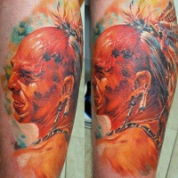 Vivid colors native american warrior tattoo by dmitriy samohin