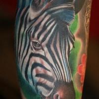 Vivid colors portrait of zebra tattoo