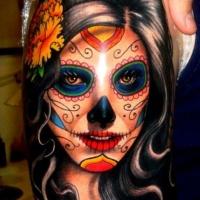Vivid colors santa muerte girl with black hair tattoo