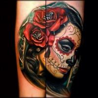 Vivid colors santa muerte with red roses tattoo