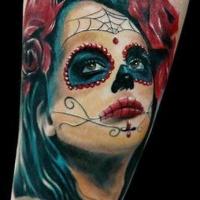 Vivid colors santa muerte tattoos with red roses