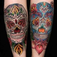 Vivid colors sugar skull forearm tattoo