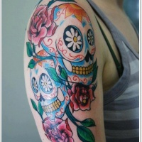 Vivid colors sugar skull tattoo on half sleeve
