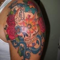 Vivid colors sugar skull tattoo on shoulder