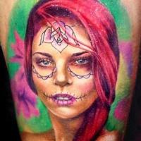 Vivid colors wonderful santa muerte girl tattoo