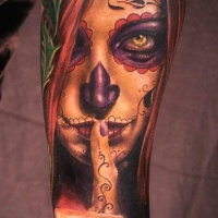 Warning santa muerte girl forearm tattoo
