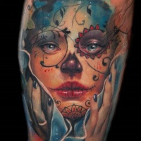 Watercolor beautiful santa muerte girl tattoo