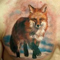 acquerello colorato volpe rossa tatuaggio su petto per uomo da Den Yakovlev