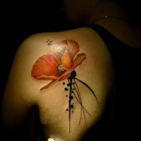 Aquarell elegante rote Mohnblume Tattoo