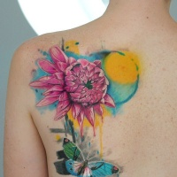Tropical hibiscus flower tattoo on the shoulder for Hibiscus flower tattoo shoulder blade