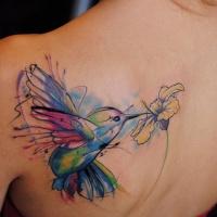Aquarell Kolibri Tattoo am Rücken