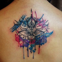 Watercolor lotus with mandala tattoo on back