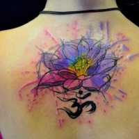 Watercolor lotus with mantra om tattoo on back
