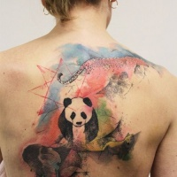 Watercolor panda and elephant tattoo on back