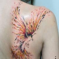 Watercolor phoenix tattoo on shoulder blade
