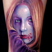 Watercolor portrait of young vampiress tattoo