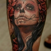 Watercolor santa muerte girl tattoo on leg