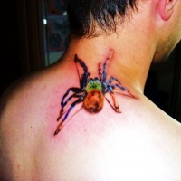 Watercolor spider tattoo on neck