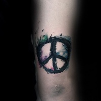 Watercolor style arm tattoo of pacific symbol
