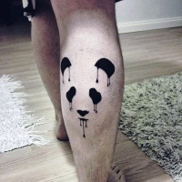 Watercolor style beautiful looking leg tattoo of panda bear figures