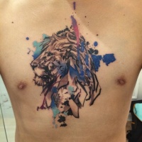 Watercolor style big chest tattoo of steady lion