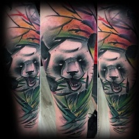 Watercolor style colored arm tattoo of eating panda bear