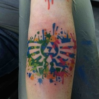 Watercolor style colored arm tattoo of interesting symbol