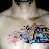 Watercolor style colored chest tattoo of old car with surfing board