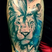 Watercolor style colored forearm tattoo of lion head