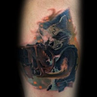 Watercolor style colored leg tattoo of movie raccoon warrior