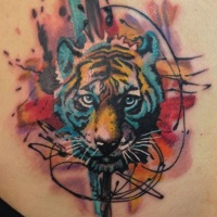 Watercolor style colored scapular tattoo of cut tiger